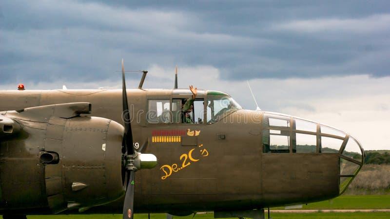 Shoreham Airshow 2014 - B25j Mitchell Cockpit fotografia de stock royalty free