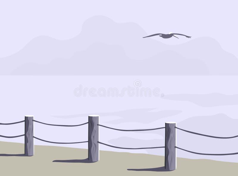 Download Shoreline Fence stock vector. Image of pelican, gray, color - 3531562