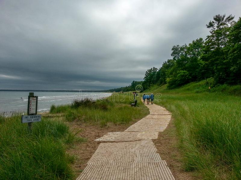 Shoreline on Lake Michigan in WI. The beach and trails off the shore of lake Michigan at the Wisconsin State Park stock photo