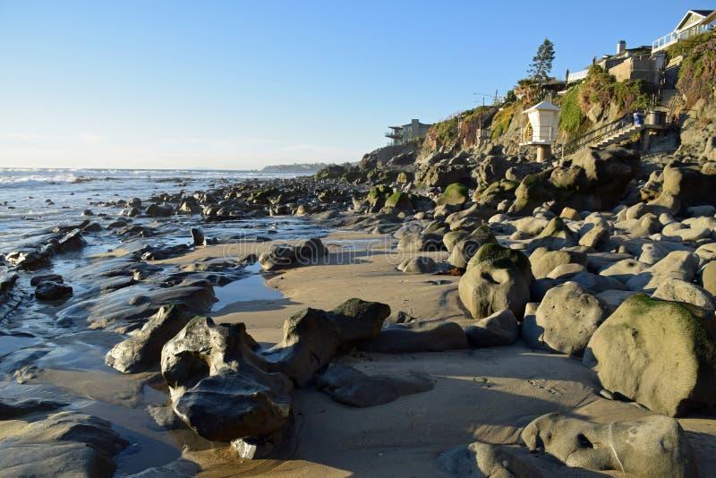 Shoreline at Mountain Street Beach in Laguna Beach, California. Image shows the shoreline at Mountain Street Beach in Laguna Beach, California. Pacific winter royalty free stock photo