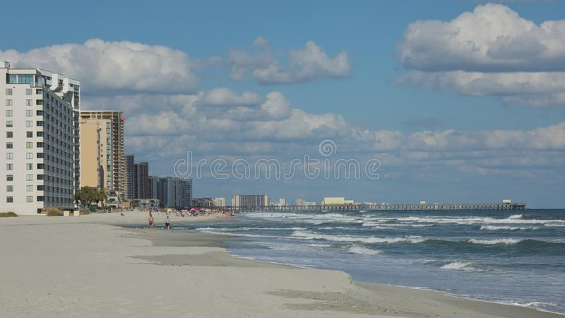 Shoreline on Myrtle Beach royalty free stock photo