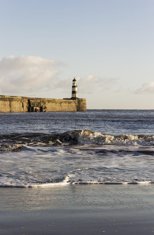 Shoreline at Seaham, county Durham stock images