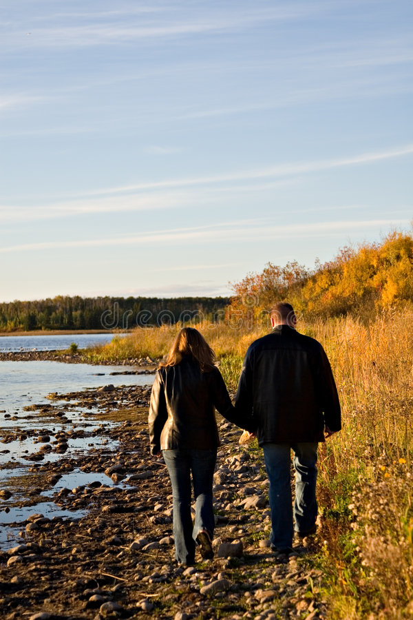 Download Shoreline Walk stock image. Image of couple, young, gorgeous - 1351021