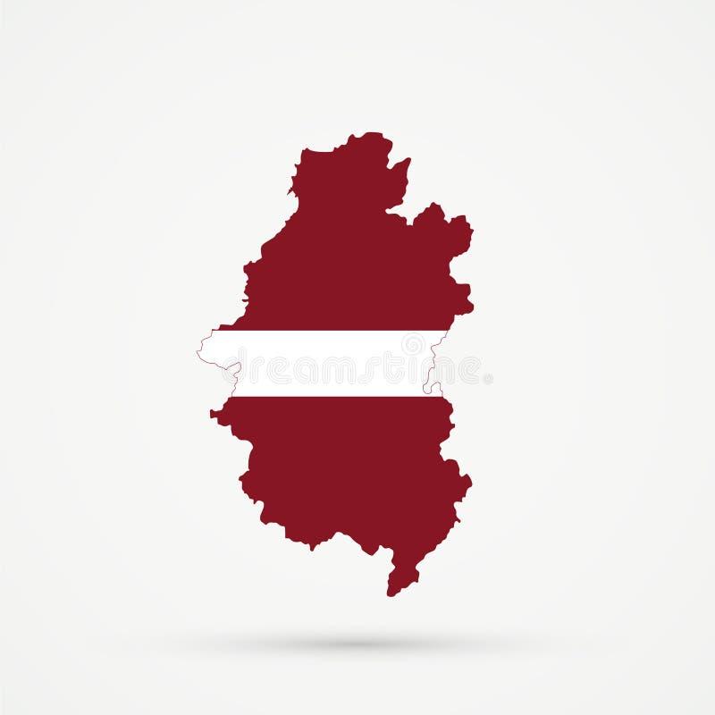 Shors etniczny terytorium Górzysty Shoria, Rosja mapa w Latvia flagi kolorach, editable wektor royalty ilustracja