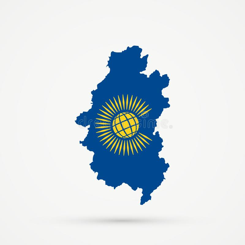 Shors etniczny terytorium Górzysty Shoria, Rosja mapa w wspólnota narodów naród flagi kolory, editable wektor ilustracja wektor