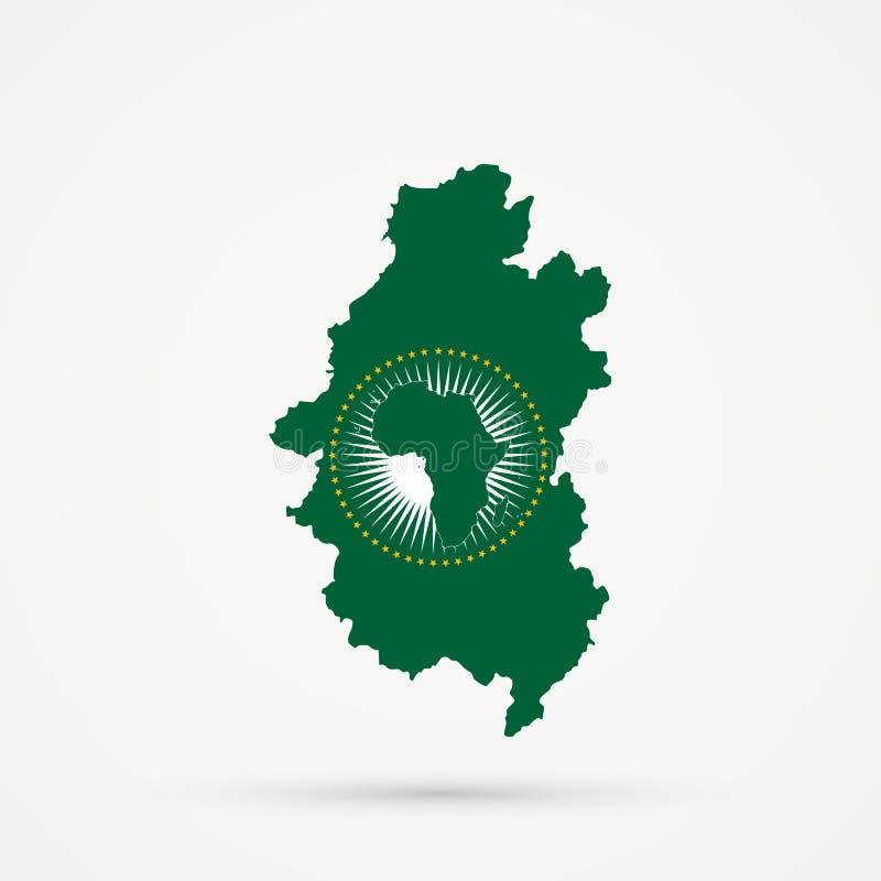 Shors etnisch grondgebied Bergachtige Shoria, de kaart van Rusland in Afrikaanse Unie de vlagkleuren van Au, editable vector vector illustratie