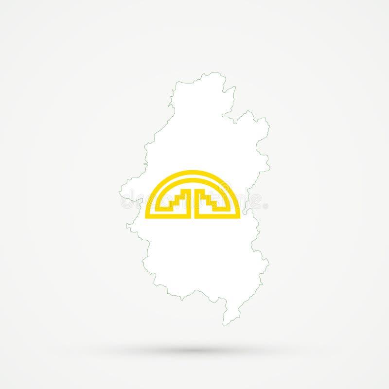 Shors etnisch grondgebied Bergachtige Shoria, de kaart van Rusland in Andes Communautaire vlagkleuren, editable vector royalty-vrije illustratie