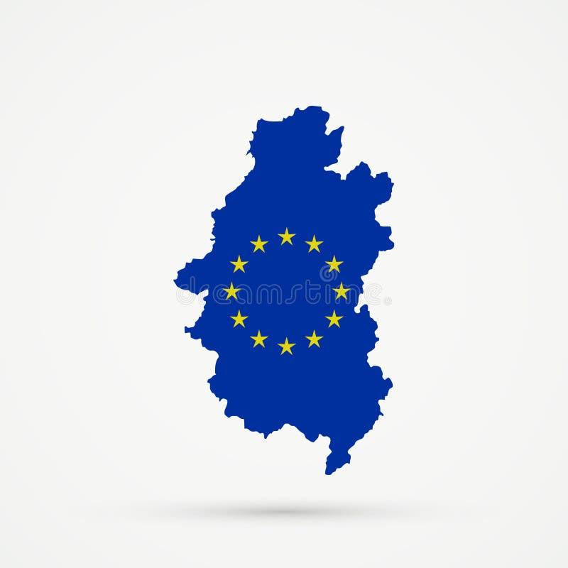 Shors etnisch grondgebied Bergachtige Shoria, de kaart van Rusland in Europese Unie de vlagkleuren van de EU, editable vector stock illustratie