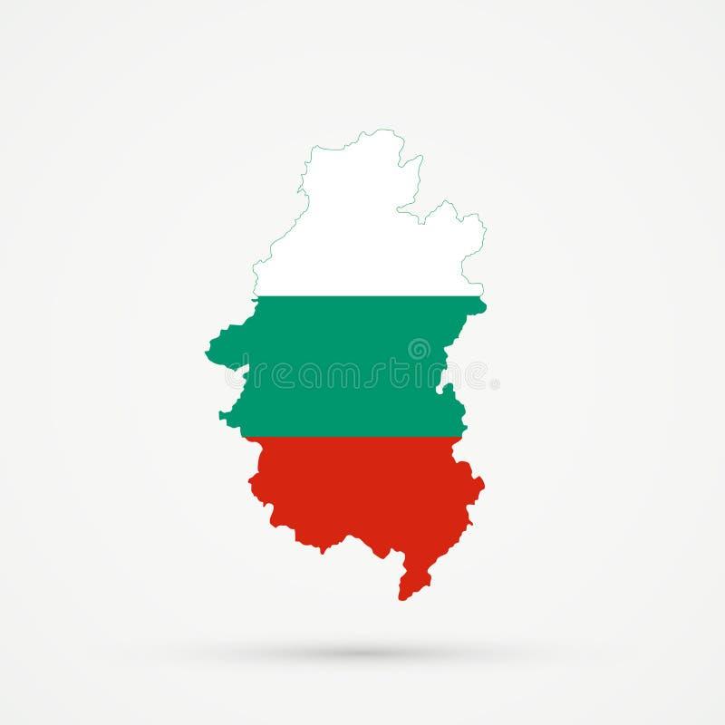 Shors etnisch grondgebied Bergachtige Shoria, de kaart van Rusland in de vlagkleuren van Bulgarije, editable vector stock illustratie