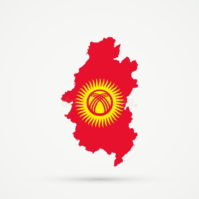 Shors etnisch grondgebied Bergachtige Shoria, de kaart van Rusland in de vlagkleuren van Kyrgyzstan, editable vector vector illustratie