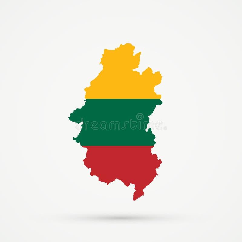 Shors etnisch grondgebied Bergachtige Shoria, de kaart van Rusland in de vlagkleuren van Litouwen, editable vector vector illustratie