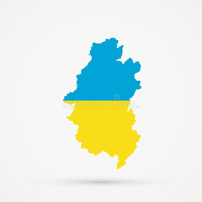 Shors etnisch grondgebied Bergachtige Shoria, de kaart van Rusland in de vlagkleuren van de Oekraïne, editable vector stock illustratie
