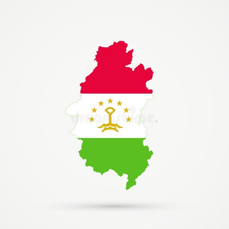 Shors etnisch grondgebied Bergachtige Shoria, de kaart van Rusland in de vlagkleuren van Tadzjikistan, editable vector royalty-vrije illustratie