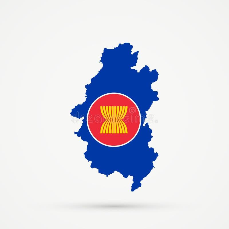 Shors etniskt territorium bergiga Shoria, Ryssland översikt i anslutning av sydostliga asiatiska färger för nationASEAN-flagga so stock illustrationer