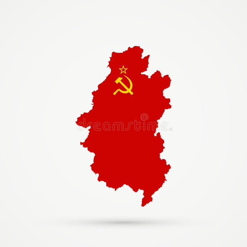 Shors etniskt territorium bergiga Shoria, Ryssland översikt i sovjetiska socialistiska flaggafärger för republiker USSR, redigerb vektor illustrationer