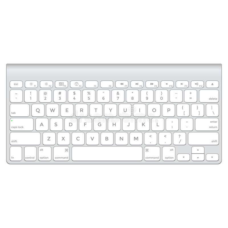 Short aluminum computer keyboard stock illustration