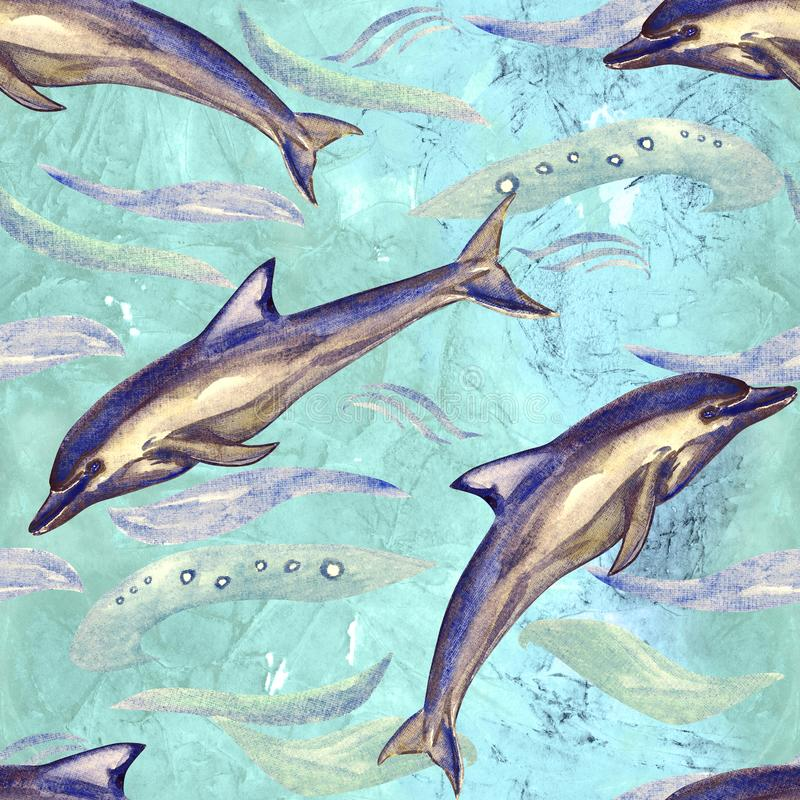 Short-beaked common dolphin, hand painted watercolor illustration, seamless pattern on blue, green ocean surface with waves. Background royalty free illustration