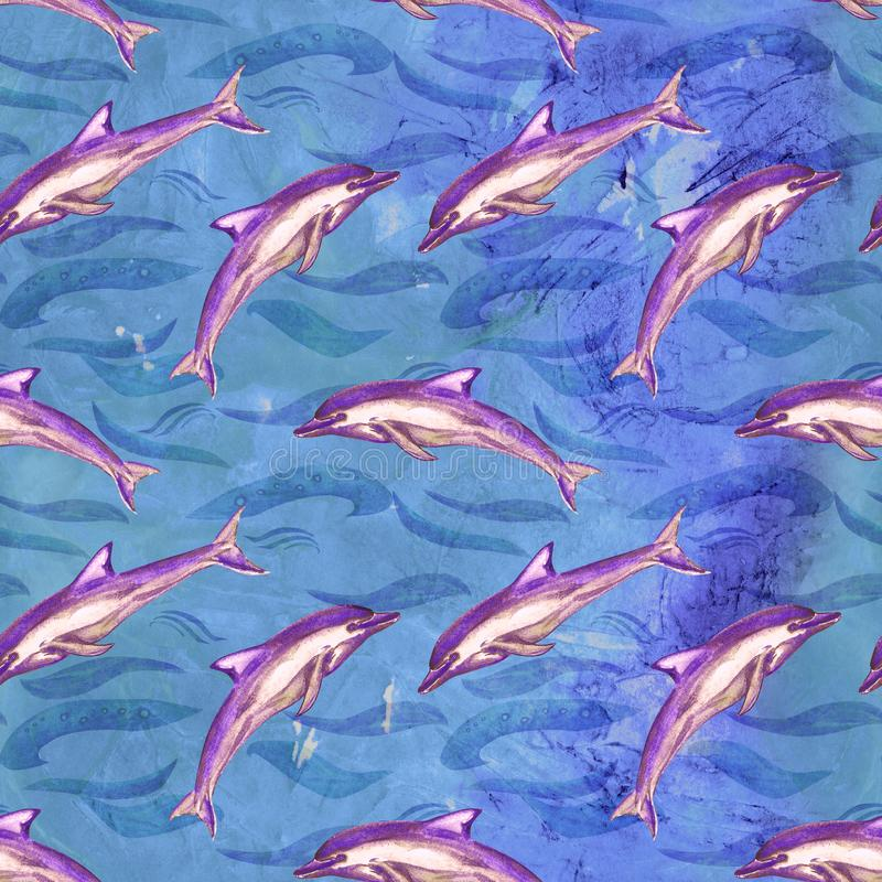 Short-beaked common dolphin in purple color palette, hand painted watercolor illustration, seamless pattern on blue ocean surface. With waves background royalty free illustration