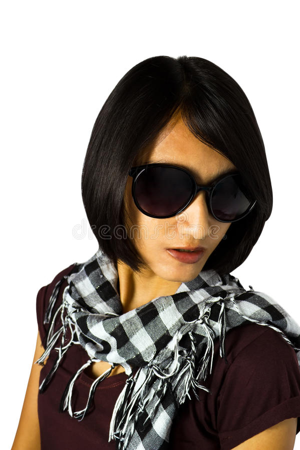 Short black hair Asian woman royalty free stock photography