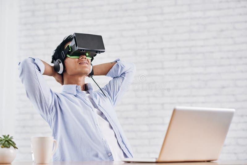 Short break in virtual reality stock photo