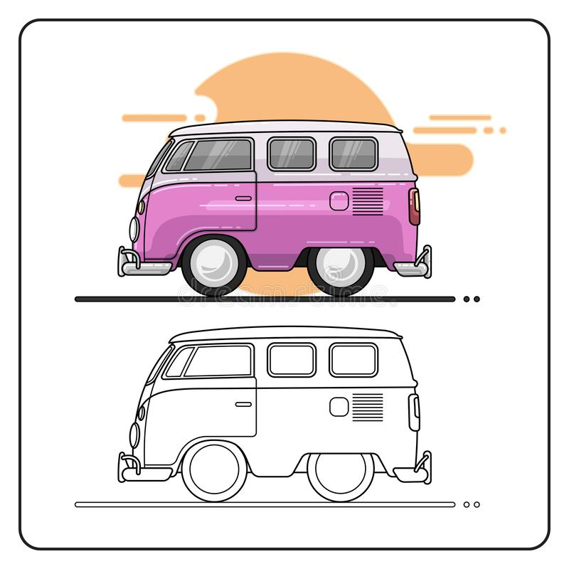 Summer cars side view stock illustration
