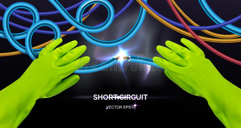 Short Circuit with Energy Lighting Effect and Sparks stock illustration
