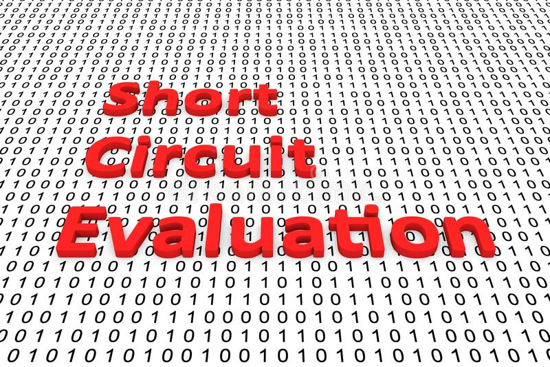 Short circuit evaluation royalty free illustration