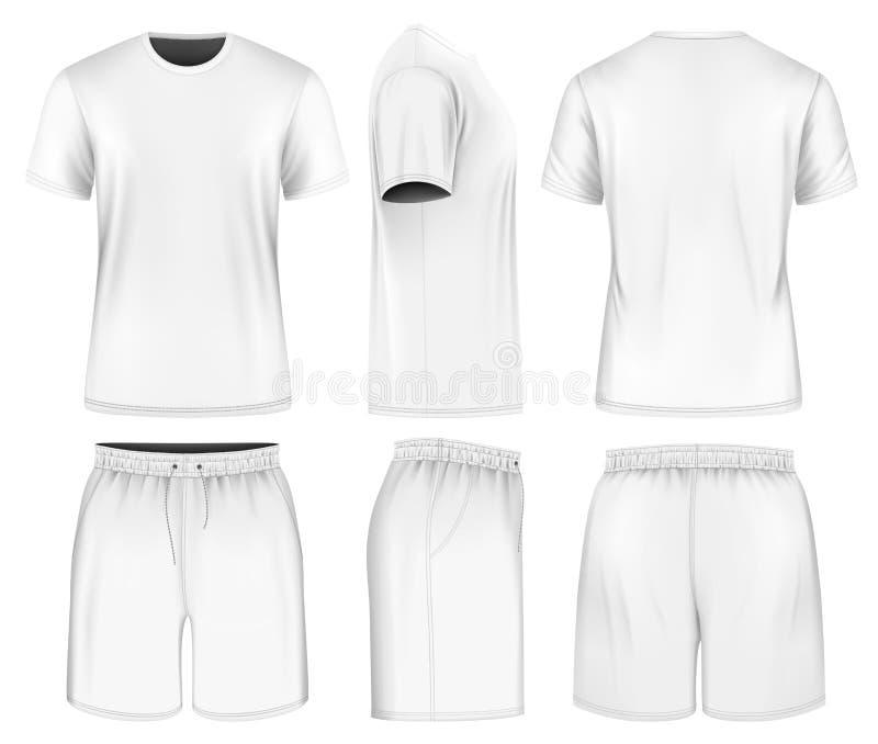 Short curto do t-shirt e do esporte da luva dos homens ilustração stock