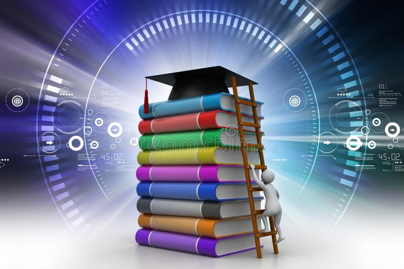 Short cut way of higher Education concept. 3d illustration of short cut way of higher Education concept stock image