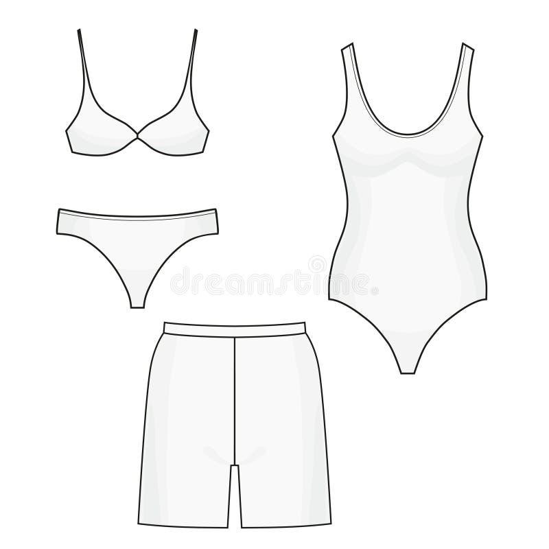Short de uma peça só do roupa de banho, do biquini e da nadada Ilustração isolada ícones do vetor no fundo branco ilustração do vetor