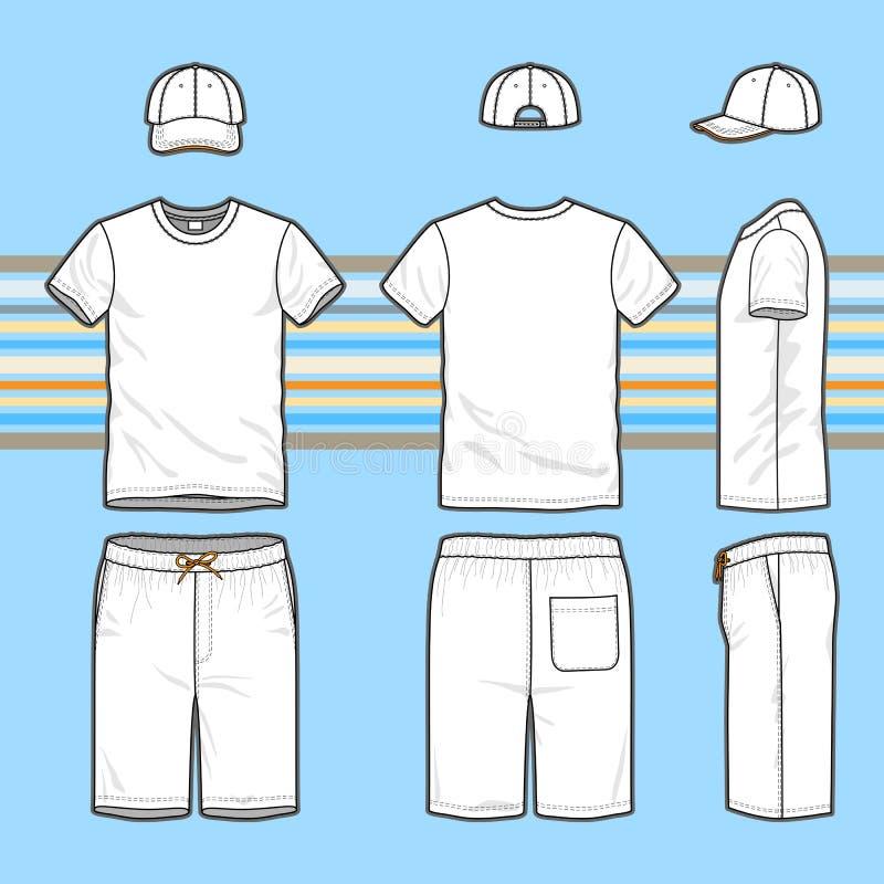 Short do t-shirt, do tampão e da nadada dos homens ajustado ilustração do vetor