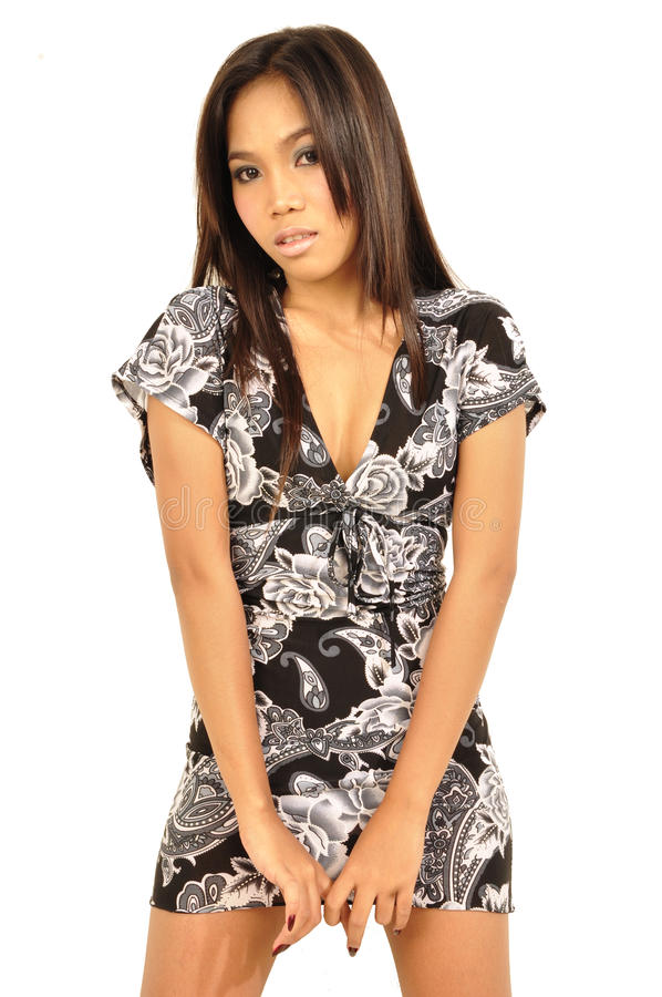Asian woman wears short dress stock image