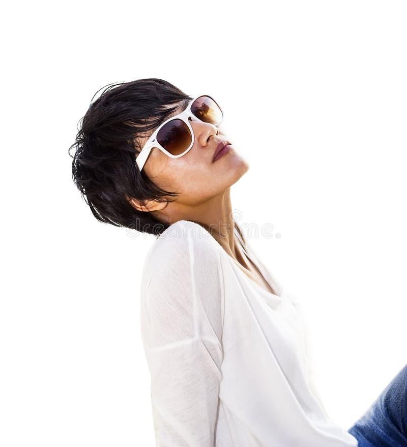 Short hair Asian woman stock images