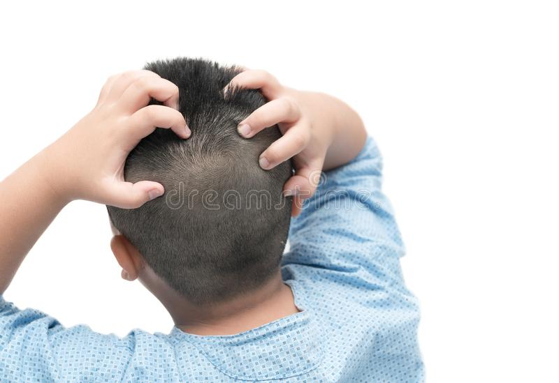 Short hair boy itchy his hair on isolated. White background stock photos
