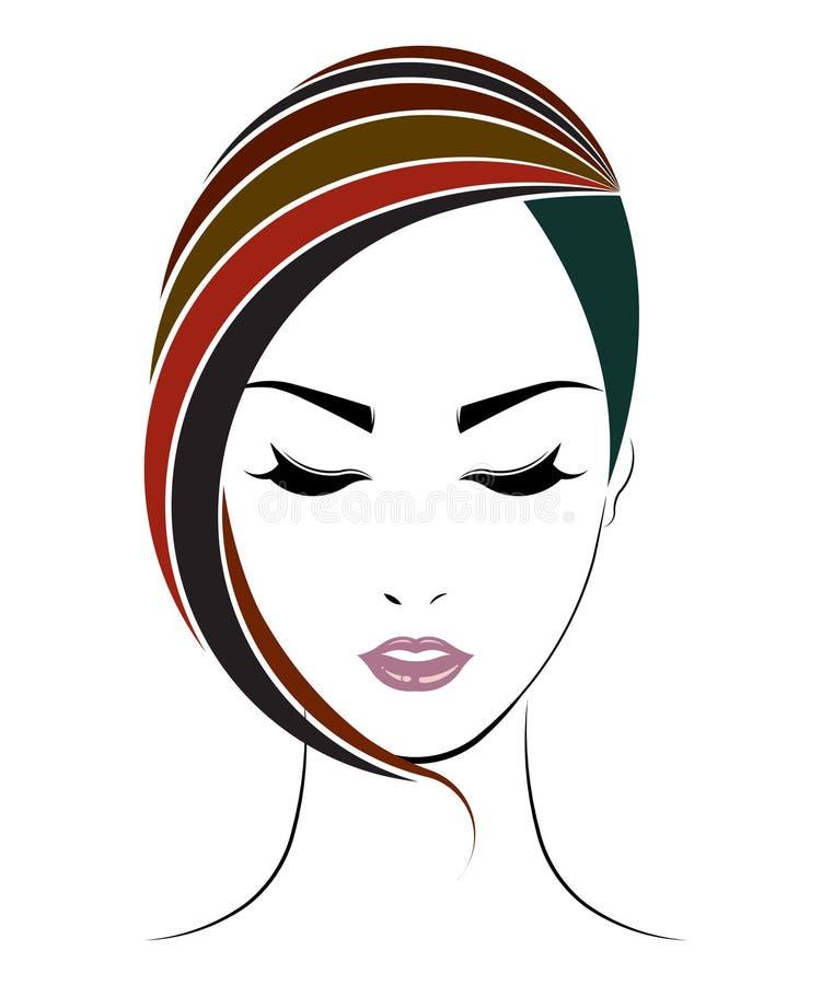 Short hair style icon, logo women face. On white background vector illustration