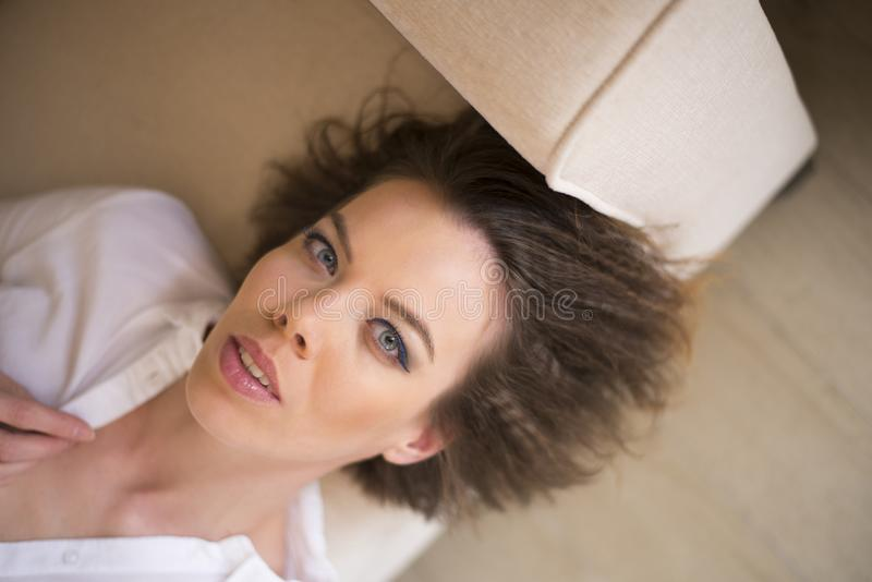 A short hair woman showing her sensuality stock images