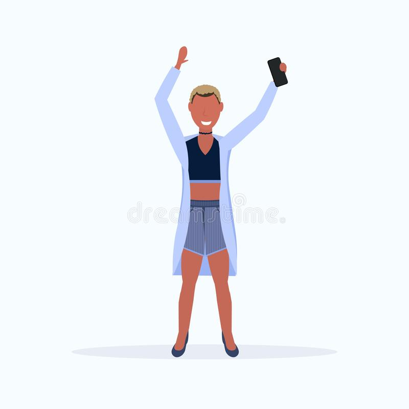 Short haircut woman taking selfie photo on smartphone camera african american female cartoon character posing on white. Background flat full length vector vector illustration