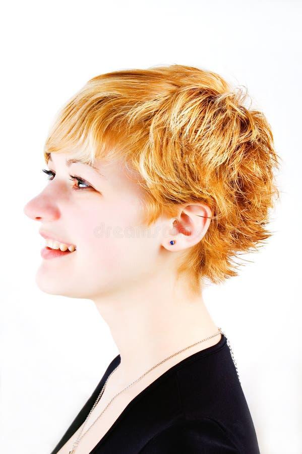 Short haired ginger/redhead girl stock photos