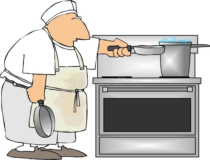 Short order cook vector illustration