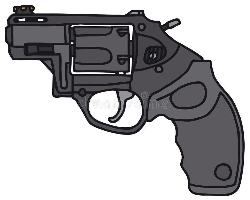 Short revolver. Modern short revolver, vector illustration, hand drawing royalty free illustration