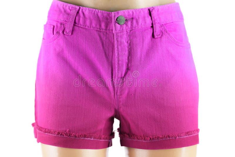 Short roxo das calças de brim das mulheres. imagem de stock royalty free