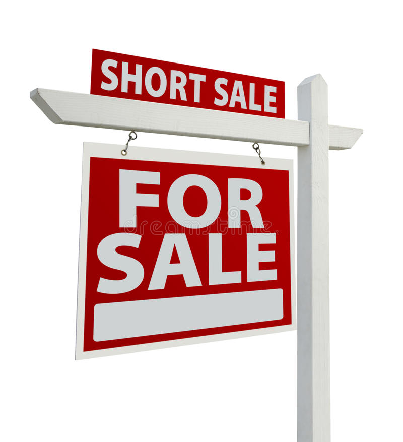 Short Sale Real Estate Sign Isolated - Left Stock Images