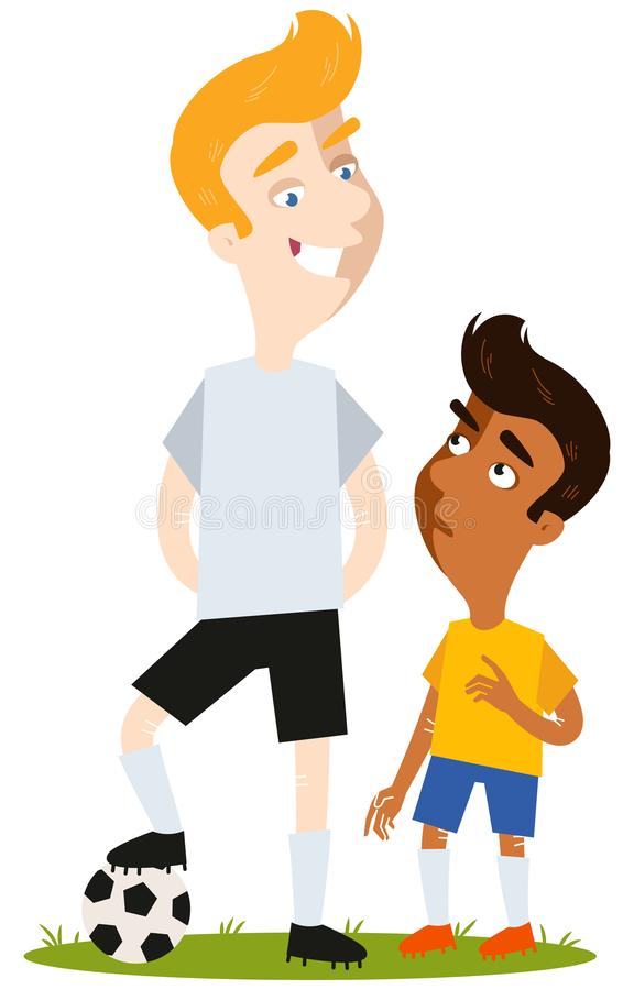 Short South American Cartoon football player in yellow shirt intimidated by tall caucasian opponent in white shirt. Isolated on white background stock illustration