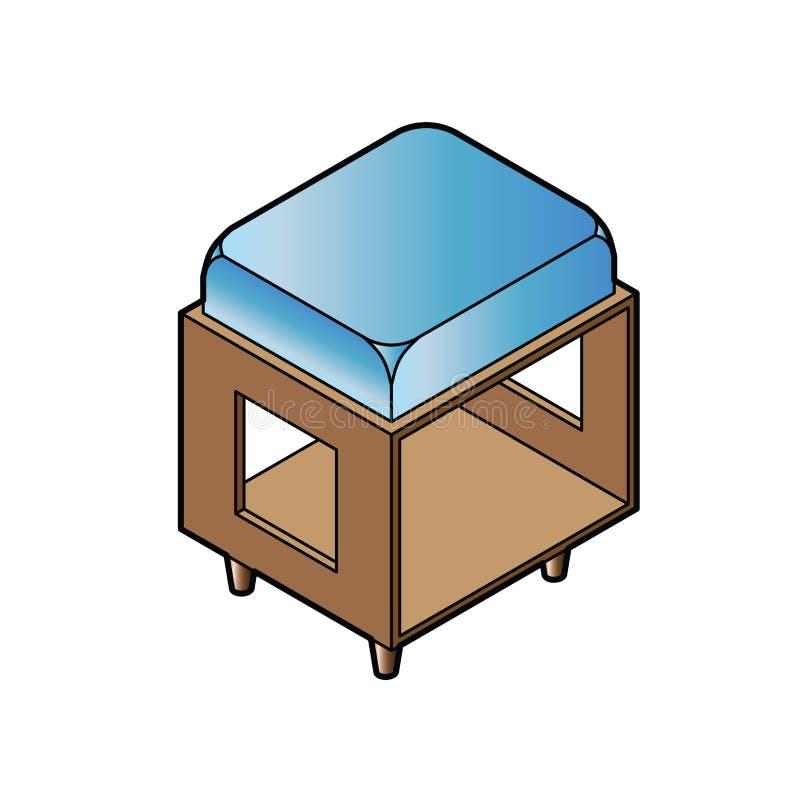 Short stool chair vector. Image of short stool chair vector isolate on white vector illustration