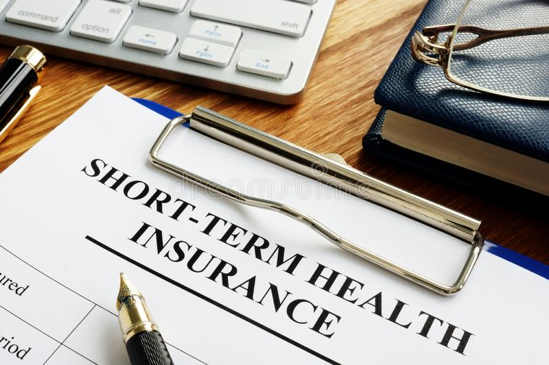 Short-term health insurance or Short Term Medical STM. Documents royalty free stock images