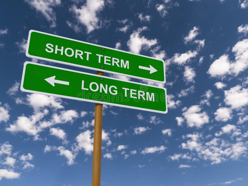 Short Term Sign : Short term vs long stock photo image of direction