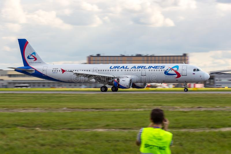 St Petersburg, Russia - 08/16/2018: Jet airliner Airbus A321 `Ural Airlines` VP-BVP in Pulkovo Airport. stock photography