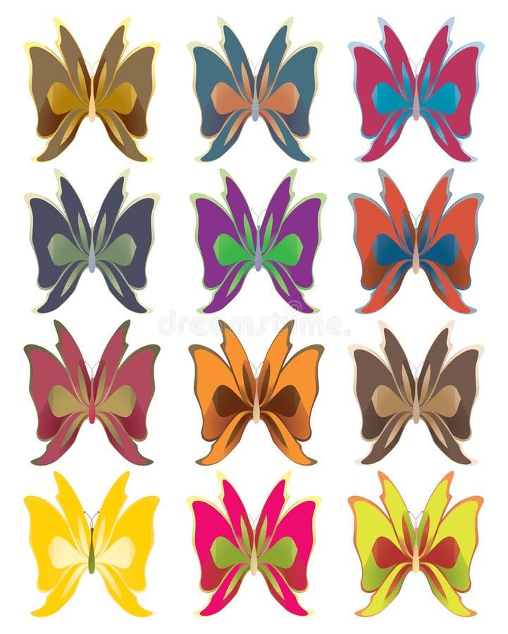 Short wing butterflies vector illustration