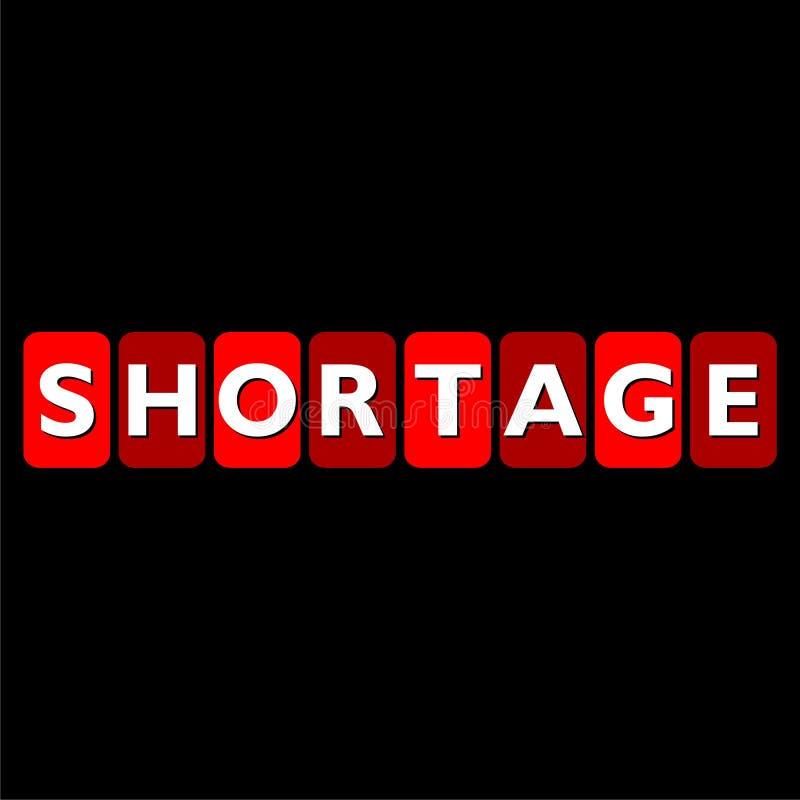 Shortage word isolated on black background stock illustration