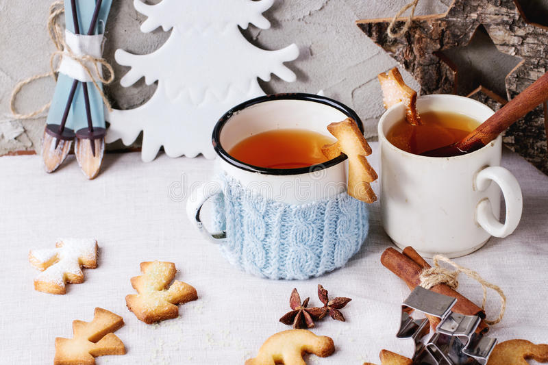 Shortbread Christmas cookies for cups royalty free stock photography